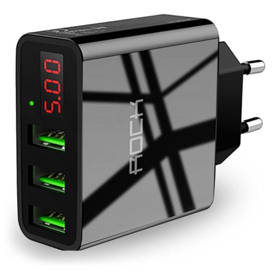 Ładowarka Sieciowa 3x USB ROCK LED 3,0A