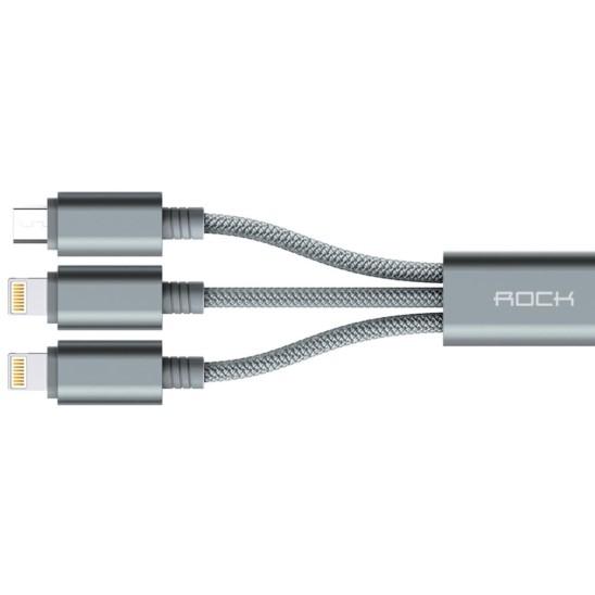Kabel ROCK 3w1 2x Lightning & Micro USB 120cm