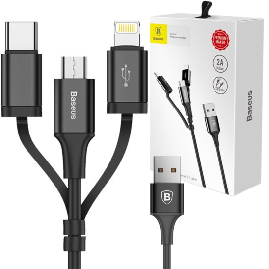 Baseus Kabel 3w1 Lightning USB-C Micro USB 1,2m