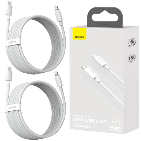 BASEUS 2x Kabel USB-C do Lightning PD 20W 1.5m