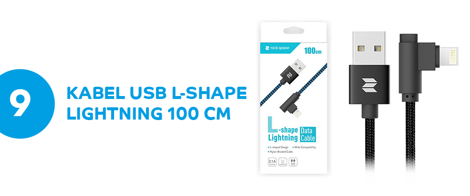 Kabel L-shape lightning ROCK iPhone X 100 cm