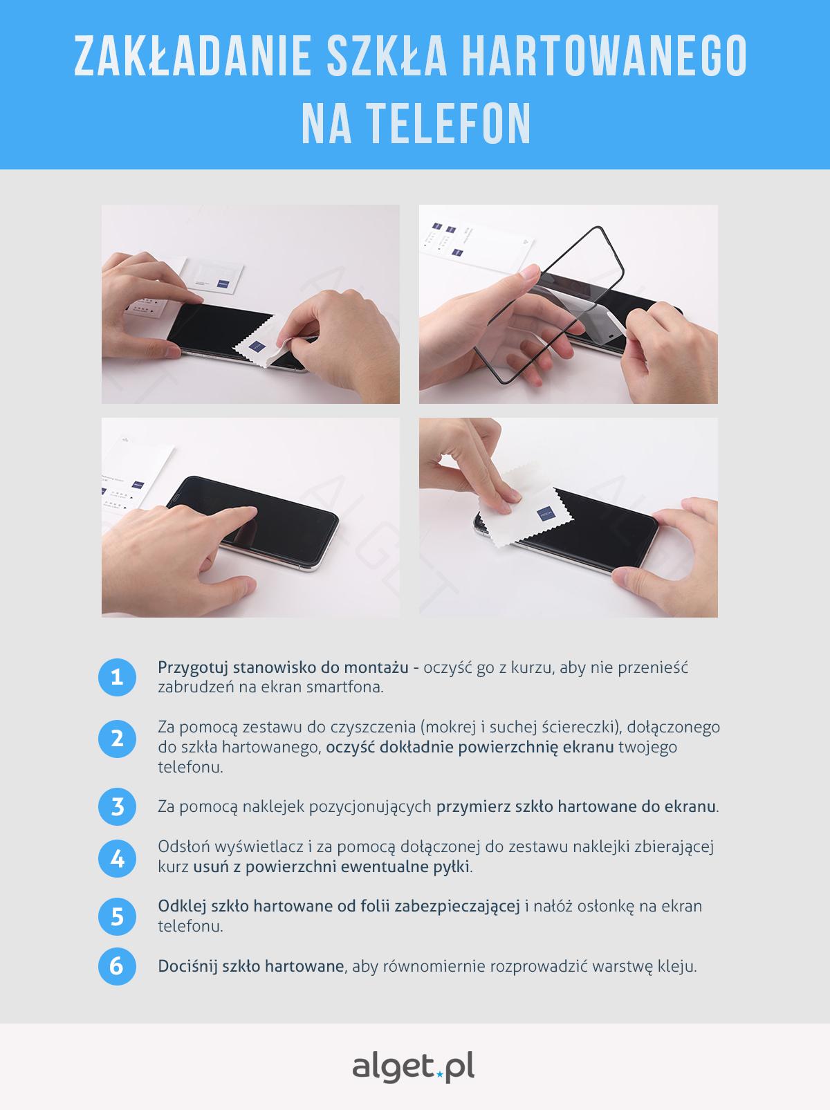 Zakładanie szkła hartowanego na telefon